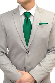 Emerald Green Tie and Pocket Square Set