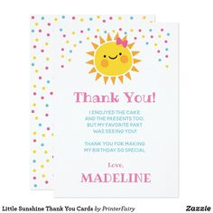 Shop Little Sunshine Thank You Cards created by PrinterFairy. Personalize it with photos & text or purchase as is! Sunflower Birthday Parties, Sunshine Birthday Parties, Art Corner, Birthday Thank You, 1st Birthdays, Zazzle Invitations, White Envelopes, Thank You Cards, Rsvp