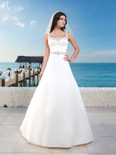 Matte Satin A-Line Wedding Gown With Beaded Trim Around Scoop Tank Neckline