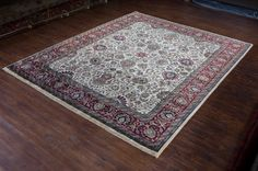 Hand Knotted Mashad Palace Rug from India. Length: 307.0cm by Width: 249.0cm. Only £2938 at https://www.olneyrugs.co.uk/shop/rugs-for-sale/indian-mashad-palace-18804.html    You could own one of our ravishing range of hand made carpets, footstools and Kilim cushion covers at www.olneyrugs.co.uk