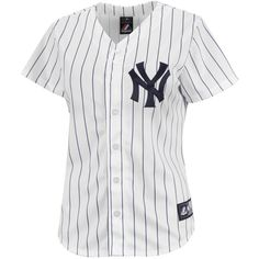 New York Yankees Women's Replica Home MLB Baseball Jersey (1,225 MXN) ❤ liked on Polyvore featuring tops, shirts, tops., major league baseball jerseys, baseball jersey top, new york yankees baseball jersey, baseball jerseys and ny yankees shirt