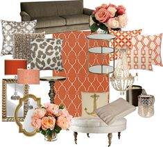 """Coral and Gold Living Room"" by chloeg01 on Polyvore"