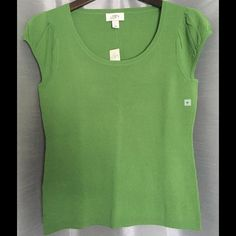 NWT Green LOFT Cap Sleeve Top NWT green Ann Taylor Loft cap sleeve top. Pleated cap sleeves. Great to layer or wear on its own. Material: 63% rayon, 37% nylon. LOFT Tops