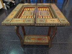 Syrian Mosaic Game Table / Chess / Backgammon