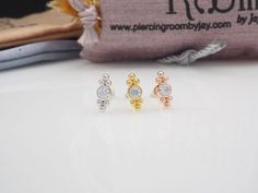 Cubic Zirconia bazel set with double trinity balls SCREW flat back Tragus, cartilage, helix, piercing by PiercingRoomByJay on Etsy Tragus, Conch, Rose Gold Plates, Piercing, Balls, Flat, Sterling Silver, Earrings, Etsy