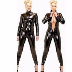 New Sexy Black Catwomen Jumpsuit PVC Spandex Latex Catsuit Costumes for Women Body Suits Fetish Leather Bodysuits  Plus Size XXL