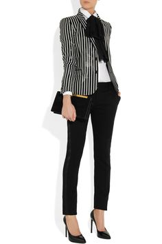 #Saint Laurent Striped glossed rayure-effect blazer #NET-A-PORTER.COM