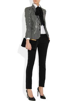 #Saint LaurentStriped glossed rayure-effect blazer#NET-A-PORTER.COM