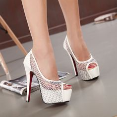 Ultra-High-Heeled Shoes Waterproof Fine Mesh Tunnel Summer Models In Europe And America Sexy Sandals With The Fish Head Shoes