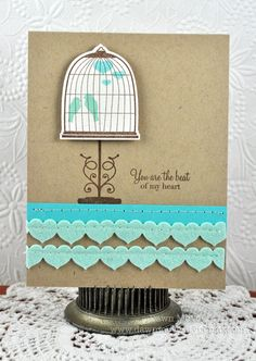 Cute & simple card by Dawn McVey  Using Papertrey Ink Products PTI (Heart Border Die & Love Birds Stamp Set