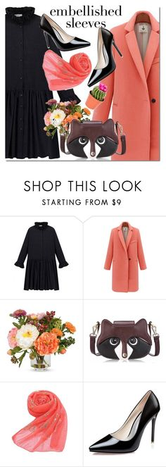 """""""NEWCHIC dress"""" by mada-malureanu ❤ liked on Polyvore featuring Nearly Natural, GetTheLook, lovenewchic and embellishedsleeves"""
