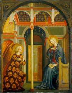 The Annunciation by Masolino da Panicale, Italian painter c. 1383- Tempera (and possibly oil glazes) on panel. Andrew W. Mellon Collection, National Gallery of Art, Washington DC, USA.