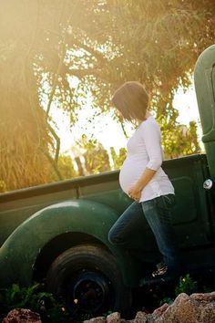 Love the old truck...and her hair!