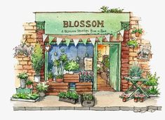 "Determine even more details on ""greenhouse architecture project"". Visit our website. Watercolor Drawing, Watercolor Illustration, Watercolor Paintings, Architecture Drawing Sketchbooks, Watercolor Architecture, Anime Scenery, Cute Drawings, Cute Art, Art Inspo"