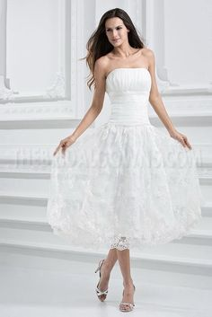 Ivory Brocade Organza Strapless Tea Length Wedding Dress Shape Your Wardrobe With a Collection Of Dresses, Jewelry, Shoes, Bags and More. Wedding Dresses Plus Size, Colored Wedding Dresses, Bridal Wedding Dresses, Cheap Wedding Dress, Dream Wedding Dresses, Bridesmaid Dresses, Lace Wedding, Vestidos Vintage, Tea Length Wedding Dress