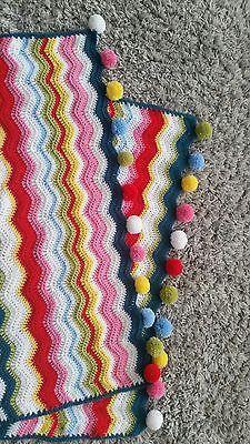 Handmade  crochet baby blanket with pom poms multicolour bright ripple blanket