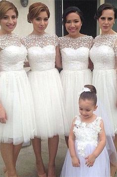 Romantic White Tulle Lace Bridesmaid Dress 2016 Short Sleeve, maybe in a different color