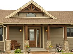 Color! Accent shingle peak.... Front porch with timber posts and accents  www.JGDevelopment.com
