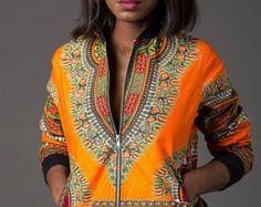 Orange dashiki bomber jacket, Dashiki bomber jacket, African jacket, Ankara jacket, dashiki, ankara bomber, african print jacket, african