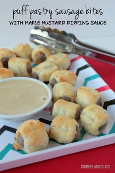 Puff Pastry Sausage Bites w/Maple Mustard Dipping Sauce | Crumbs and Chaos #breakfast #sausage  www.crumbsandchaos.net