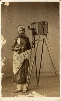 ca. 1875, [albumen portrait of Indian photographer/painter Mohan Lal with His Camera]