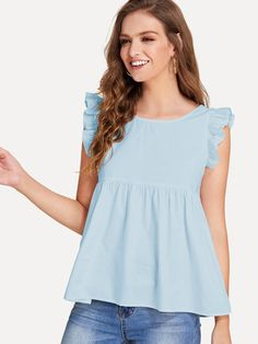 Preppy Plain Top Regular Fit Round Neck Sleeveless Blue Regular Length Ruffle Trim Bow Tie Backless Smock Top with Lining Trendy Outfits, Fashion Outfits, Loose Fit Jeans, Frill Tops, Plain Tops, Mode Hijab, Ruffle Trim, Pulls, Blouse Designs