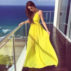 A-Line Deep V-Neck Floor-Length Yellow Chiffon Prom Dress with Pleats
