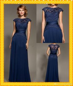 Free shipping, $105.89/Piece:buy wholesale  Lace Cap Sleeve Mother of the Bride Broom Dresses Chiffon Crew Hollow floor length Evening Dress Navy Blue Long Prom Gowns2014 Spring Summer,Reference Images,Chiffon on lovemydress's Store from DHgate.com, get worldwide delivery and buyer protection service.