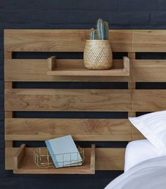 Bett Kopfteil Headboard for bed made of teak 270 Urbain Headboard for bed made of teak 270 Urbain Id Corner Headboard, Double Headboard, Modern Headboard, Diy Wooden Headboard, Bed Headboard Storage, Ikea Mandal Headboard, Headboard Pallet, Cheap Diy Headboard, Make Your Own Headboard