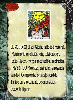 Trastos de Bruja: El Sol Tarot Significado, Le Tarot, Tarot Card Meanings, Tarot Spreads, Zodiac Mind, Spirit Guides, Tarot Decks, Wicca, Tarot Cards