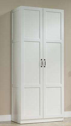 Howard storage cabinet from Wayfair Basement Storage, Laundry Room Storage, Door Storage, Closet Storage, Ikea Laundry Room Cabinets, Garage Storage, Storage Shelves, Diy Cabinets, Bathroom Organization