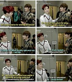 Exo and BTS interactions. I'm not crying you are TaeTae and Junmyeon are being so nice to each other why can't ARMYs and Exo-ls be this way towards each other.