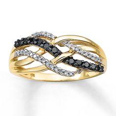 Black Diamond Ring 1/4 ct tw Round-cut 10K Yellow Gold