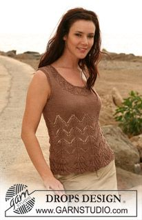 "top with lace pattern in ""Cotton Viscose"" by DROPS design - Drops - Top s krajkovým vzorem z příze Cotton Viscose.Brugge Crochet Lace Top PDF Pattern by FashionPatterns on EtsyWelcome to DROPS Design! Here you'll find more than free knitti Summer Knitting, Lace Knitting, Knitting Patterns Free, Crochet Lace, Free Pattern, Knitting Tutorials, Tunisian Crochet, Crochet Granny, Free Crochet"