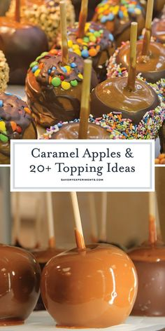 Classic caramel apples recipe with ideas to roll them in. Perfect for a fall… Classic caramel apples recipe with ideas to roll them in. Perfect for a fall dessert idea or a Halloween treat! Köstliche Desserts, Delicious Desserts, Dessert Recipes, Dessert Ideas For Party, Apple Desserts, Health Desserts, Gourmet Caramel Apples, Apples With Caramel, Homemade Caramel Apples