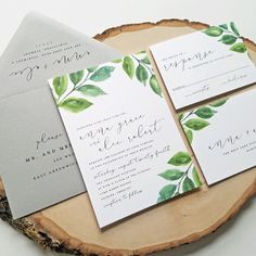 NEW Anna Watercolor Greenery Wedding Invitation Sample - Modern Calligraphy Script, Watercolor Leaves, Woodland, Rustic, Outdoor Wedding See more here: https://www.etsy.com/listing/509226954/new-anna-watercolor-greenery-wedding?ref=shop_home_active_2