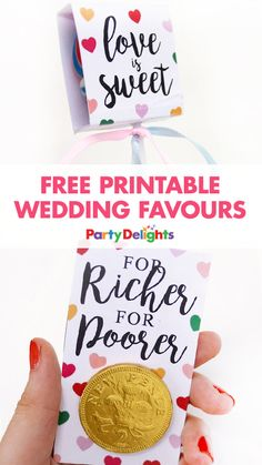Love the idea of giving out wedding favours but hate the cost? These free printable wedding favours are perfect for a wedding on a budget. They're completely free to download and DIY wedding favours are much more unique and personal to your wedding!