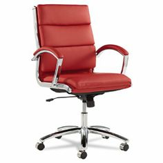 Amazon.com - Alera Neratoli Mid-Back Swivel/Tilt Chair, Red Soft-Touch Leather - Desk Chairs