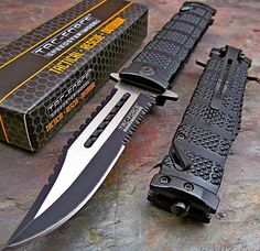 TAC-FORCE Assisted Opening Sawback Bowie Rescue Black Glass Breaker Knife