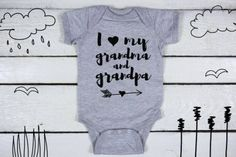 Get It Now I love my Grandma and Grandpa Baby bodiesuit I heart my Grandma and Grandpa One-Piece Baby Announcements Personalized Baby Gifts Baby Shower by Baby Girl Onsies, Custom Baby Onesies, Boy Onesie, Baby Bodysuit, Baby Boy, Baby Shower Shirts, Baby Shirts, My Aunt Onesie, I Love My Grandma