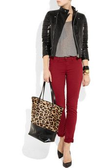 Leather jacket+ red jeans