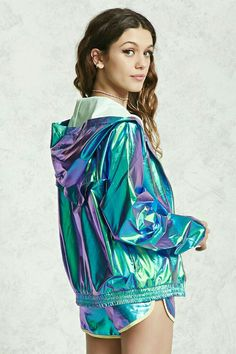 - Jacket Designs - A holographic windbreaker jacket featuring a hood, long sleeves, partial mesh li. A holographic wi. Rave Outfits, Cool Outfits, Fashion Outfits, Womens Fashion, Fashion Trends, Fashion Styles, Men's Outfits, Petite Fashion, Curvy Fashion