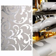 Victorian Damask Luxury Embossed Wallpaper Roll - Silver Design