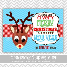 Reindeer with a Red Nose Personalized Party Invitation-personalized invitation, photo card, photo invitation, digital, party invitation, birthday, shower, announcement, printable, print, diy,christmas, winter