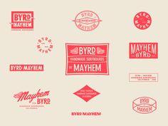 Byrd x Mayhem collab concepts Vintage Typography, Typography Logo, Graphic Design Typography, Branding Design, Vintage Logos, Vintage Graphic, Vintage Branding, Book Portfolio, Portfolio Layout