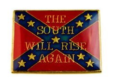 "Confederate Flag ""The South Will Rise Again"" 1 inch hat or lapel pin D26 Sujak Military Items. $5.95. Rubber clasp for secure wear. 1 inch width. Quality craftsmanship"
