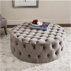 ottoman for bedroom. Wyard Cocktail Ottoman Belham Living Allover Round Tufted  Grey from hayneedle