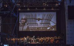 Tan Dun y Filarmónica de Santiago en Plaza de la Constitución. Un espectáculo parte de la programación de Stgo a Mil. Foto: Patricio Melo