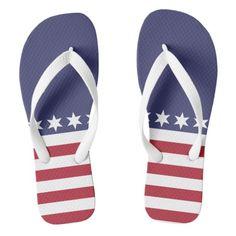 Patriot American Flag Design Summer Flip Flops  Patriot American Flag Design Summer Flip Flops