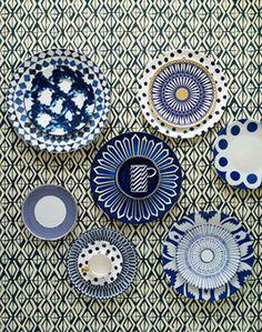love the indigo blue wallpaper